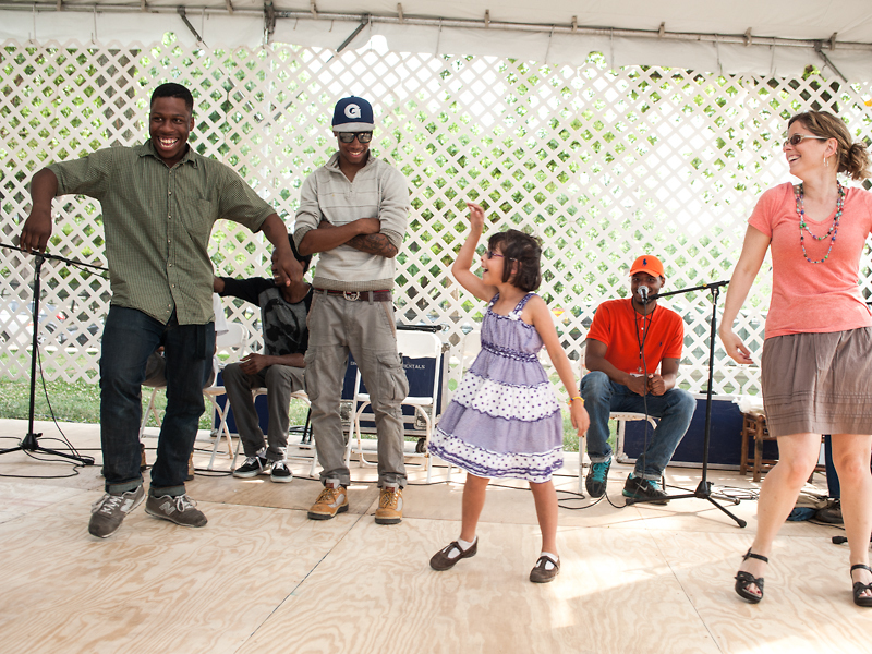 "Dance group ""Da Originalz"" teach the audience a few dance moves for Citified, ACM's look at urban community and creativity at the Smithsonian Folklife Festival."