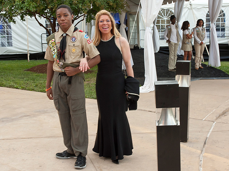 Boy Scout Justice Boston (troop 1869) escorts Evelyn Godwin into the 45th Anniversary Gala on September 15, 2012.