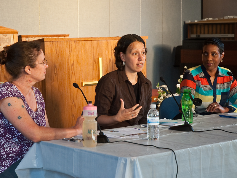 Dottie Yunger, Joelle Novey, and Reverend Gail Addison discuss faith and environmental activism at at ACM community forum at Matthews Memorial Baptist Church.