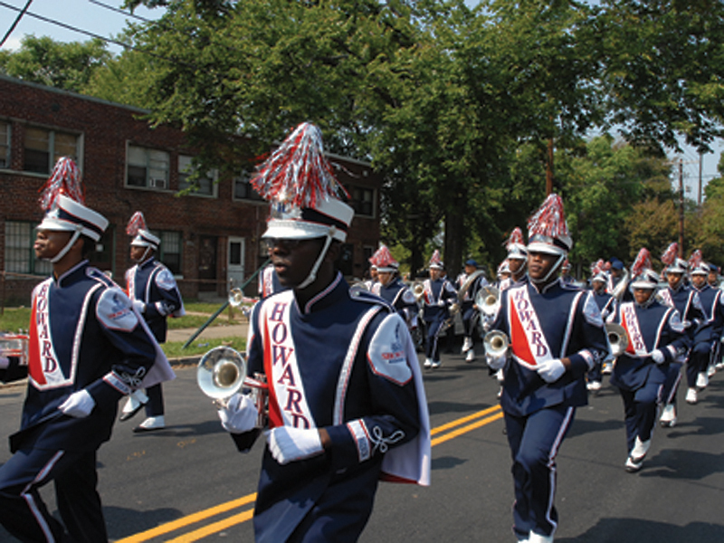 Howard University Marching Show Band parades to open the exhibition Banding Together: School Bands as Instruments of Opportunity.