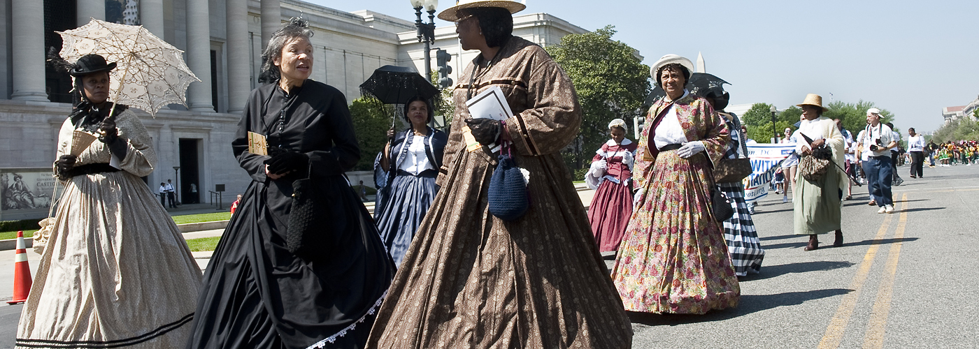 The American Civil War Museum's Female Reenactors of Distinction appear in period costumes for Washington's Emancipation Day parade, April 16, 2012.