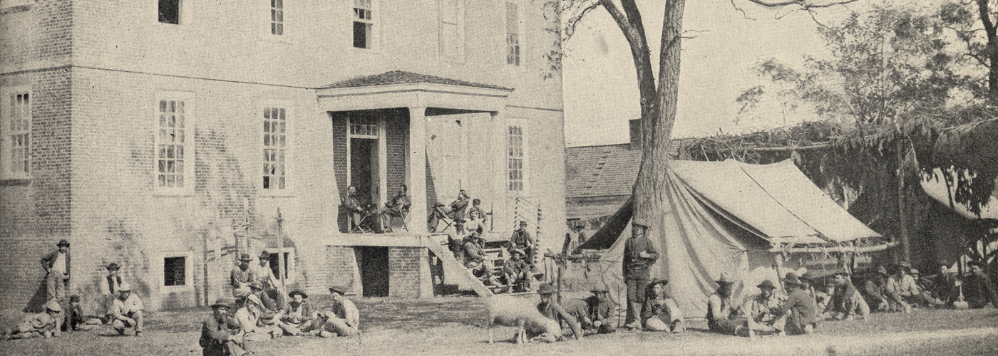 Manor house in Southeast Washington, ca. 1863, used as the headquarters for a Cavalry camp during the Civil War