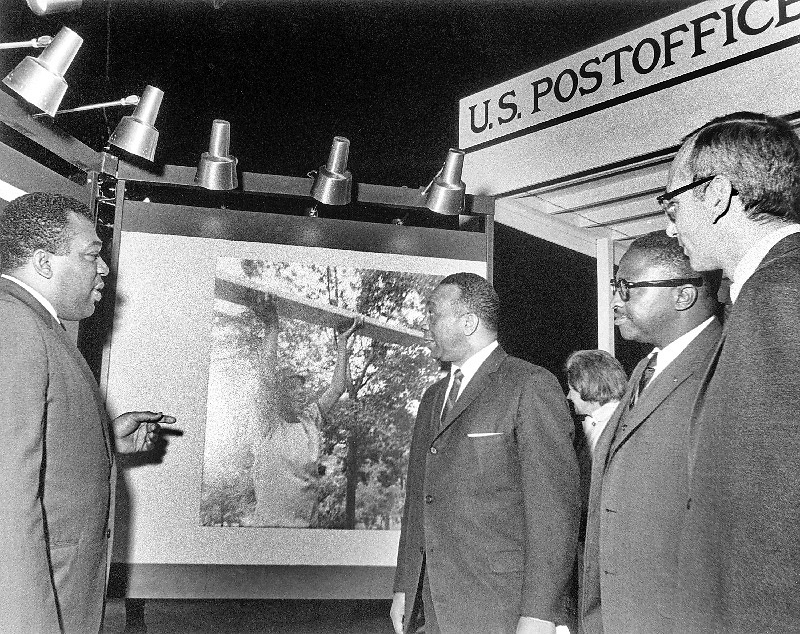 (Left to right) Founding Director John R. Kinard; DC Mayor Walter Washington; an unidentified guest; and Smithsonian Assistant Secretary Charles Blitzer; Anacostia Neighborhood Museum opening, Sep. 15, 1967