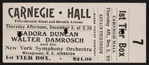 1st Tier Box ticket for Isadora Duncan performance, Carnegie Hall, Year 1909