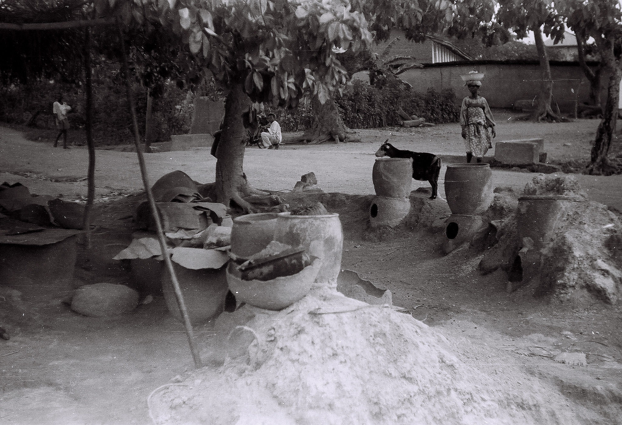 Field Work in Ibadan, Western Region (Nigeria): Large Indigo Dye Pots Used by Yoruba Women to Create Adire Clothes