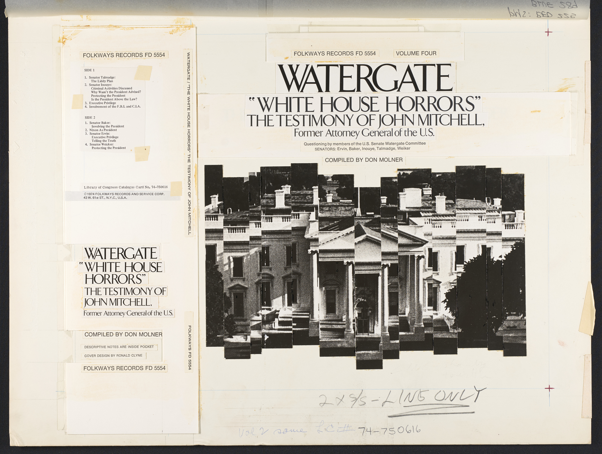 Watergate. Vol.4 [sound recording] : White House horrors: testimony of John Mitchell, former Attorney General of the U.S. / compiled by Den Molner