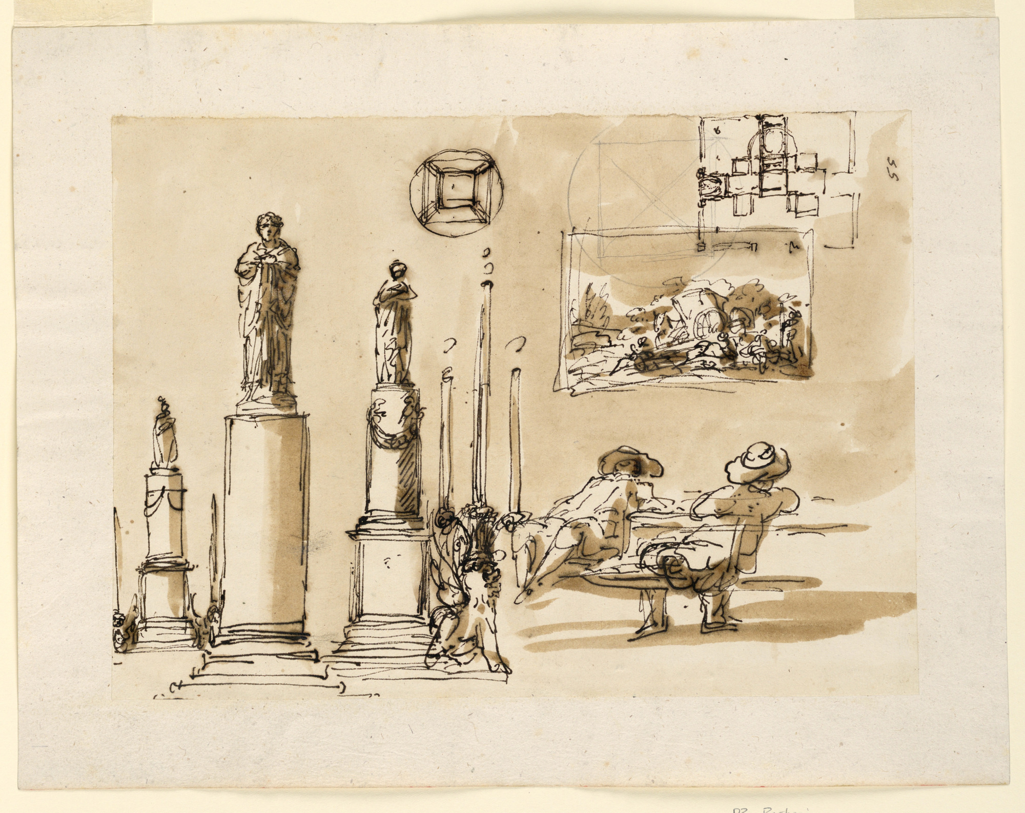 Lighting fixtures; a plan; two men at a table