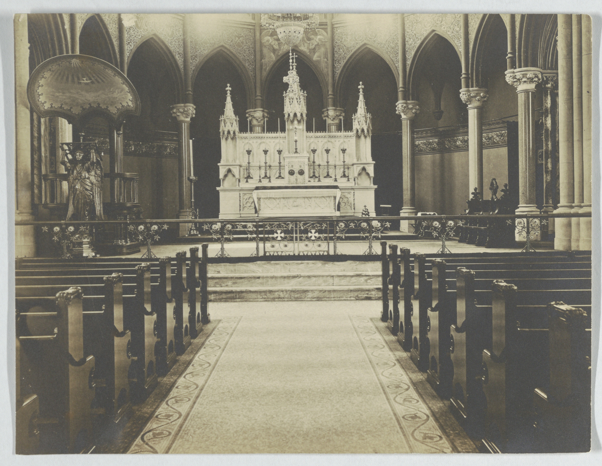 View of the chancel facing the altar of an unidentified church