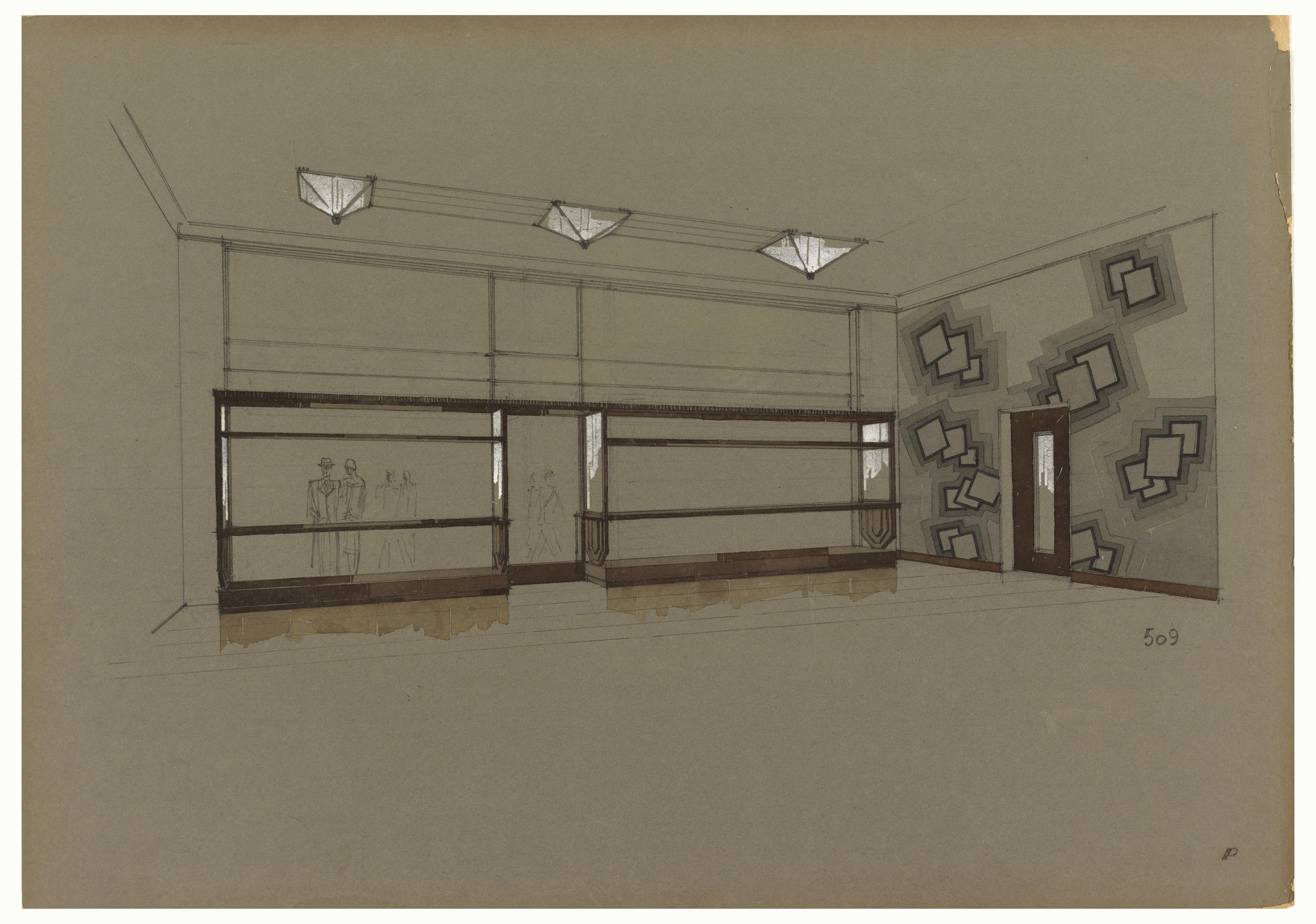 Design for Store Interior in the Art Deco Style with Square-Patterned Wall Covering