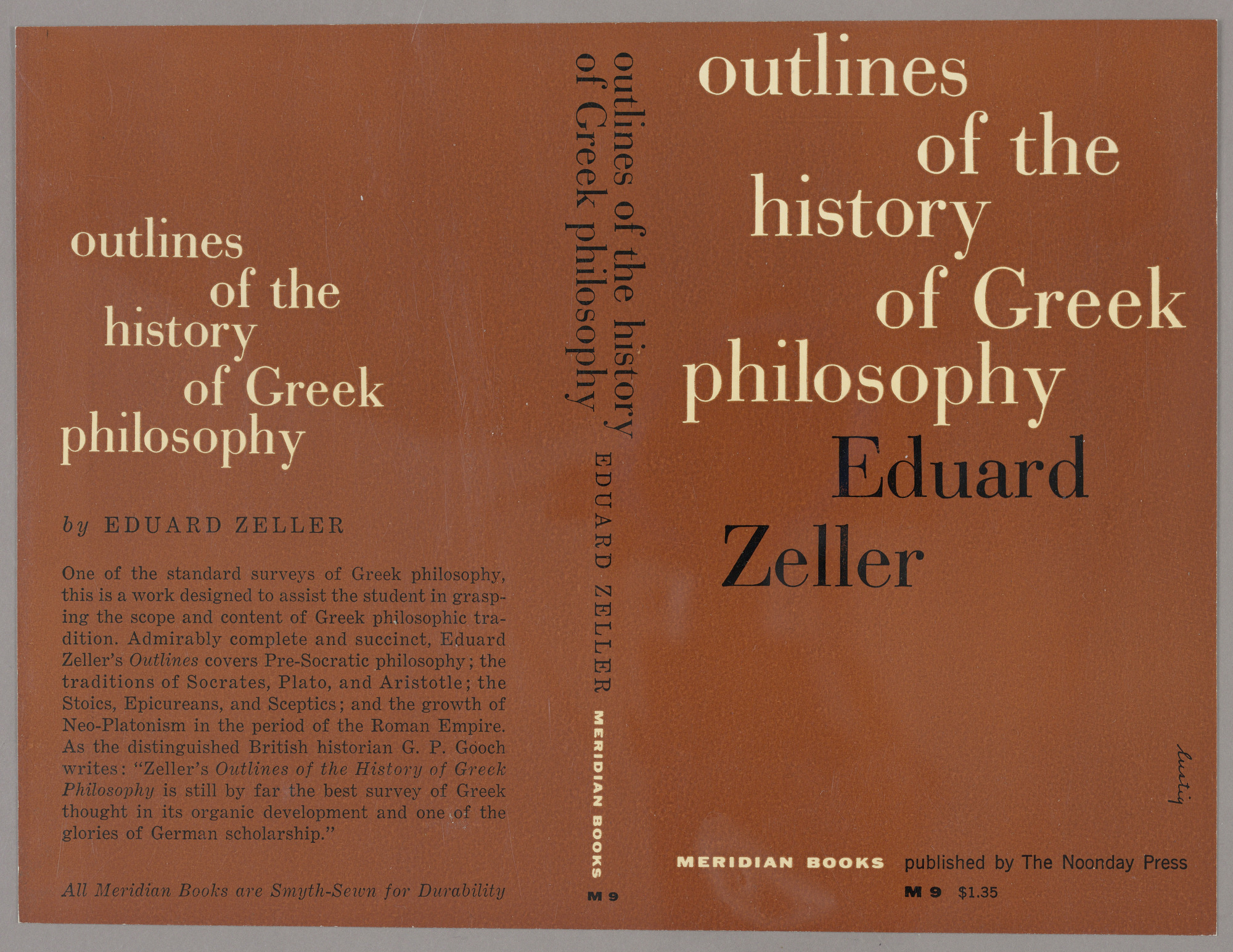 "Bookjacket for ""Outlines of the History of Greek Philosophy"" by Edward Zeller, Meridian Books"