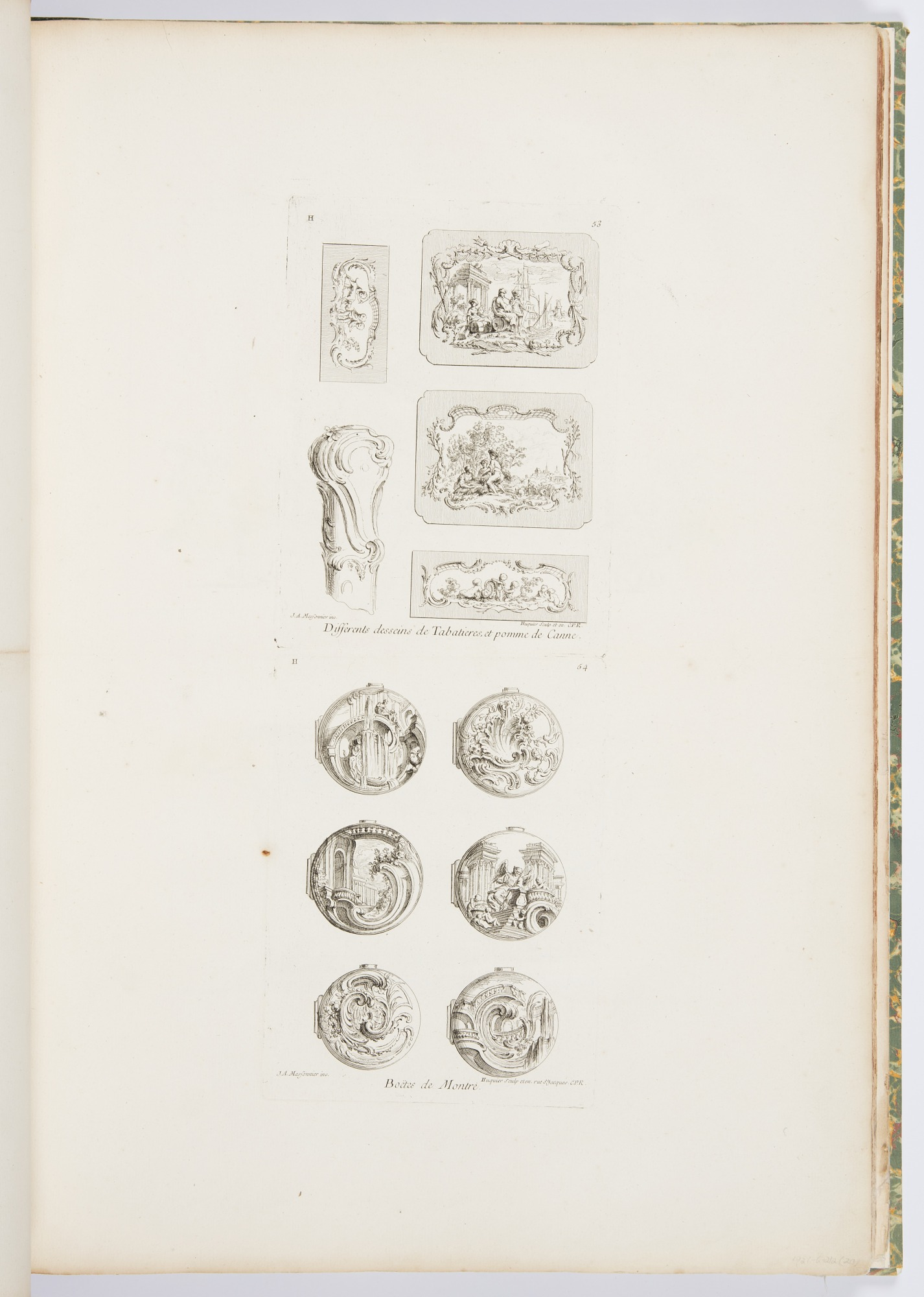 Differents desseins de Tabatières, et pomme de canne, cinquième planche [Different Designs for Snuff Boxes and a Cane Handle, 5th Plate], pl. 53 in Oeuvre de Juste-Aurèle Meissonnier