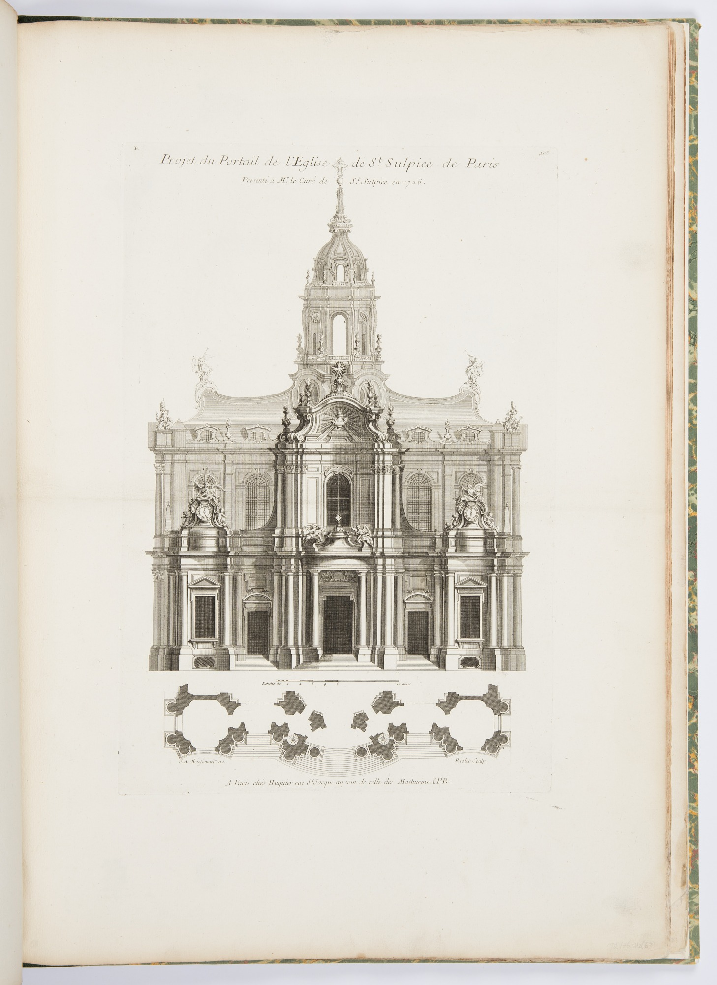 Projet du Portail de l'Eglise de St. Sulpice de Paris (Design for the Portal of the Church of St. Sulpice of Paris), plate 105, in Oeuvres de Juste-Aurèle Meissonnier (Works by Juste-Aurèle Meissonnier)