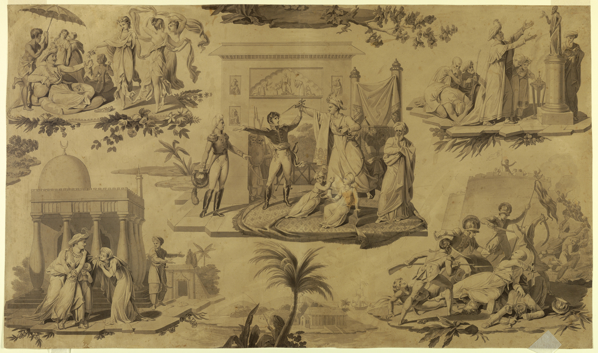 Cartoon for Printed Cotton Textile: The French in Egypt [Les Francais en Egypte]
