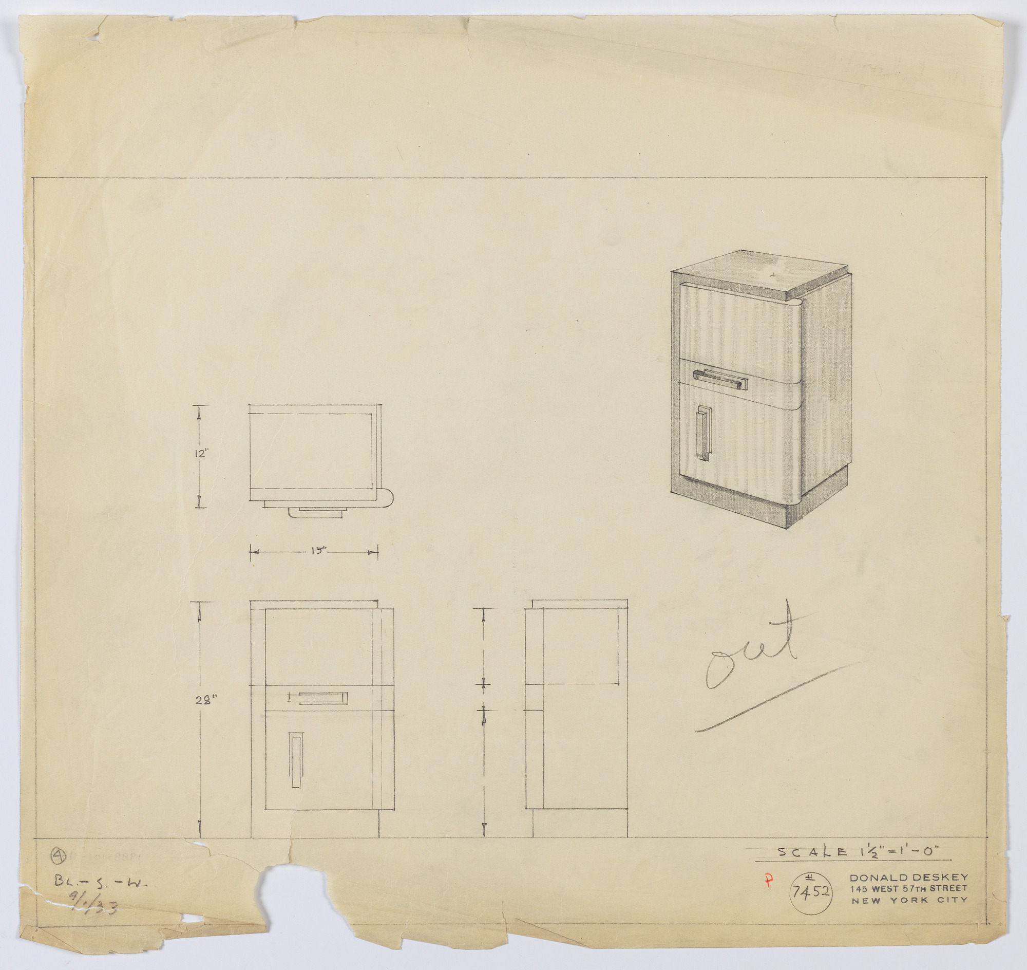 Design for an End Table in Blond and Dark Wood with Central Drawer and Closed Cabinet