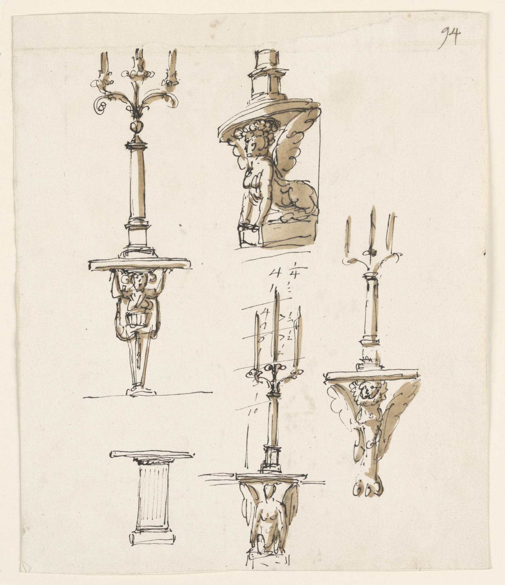 Five console tables, three with candlesticks