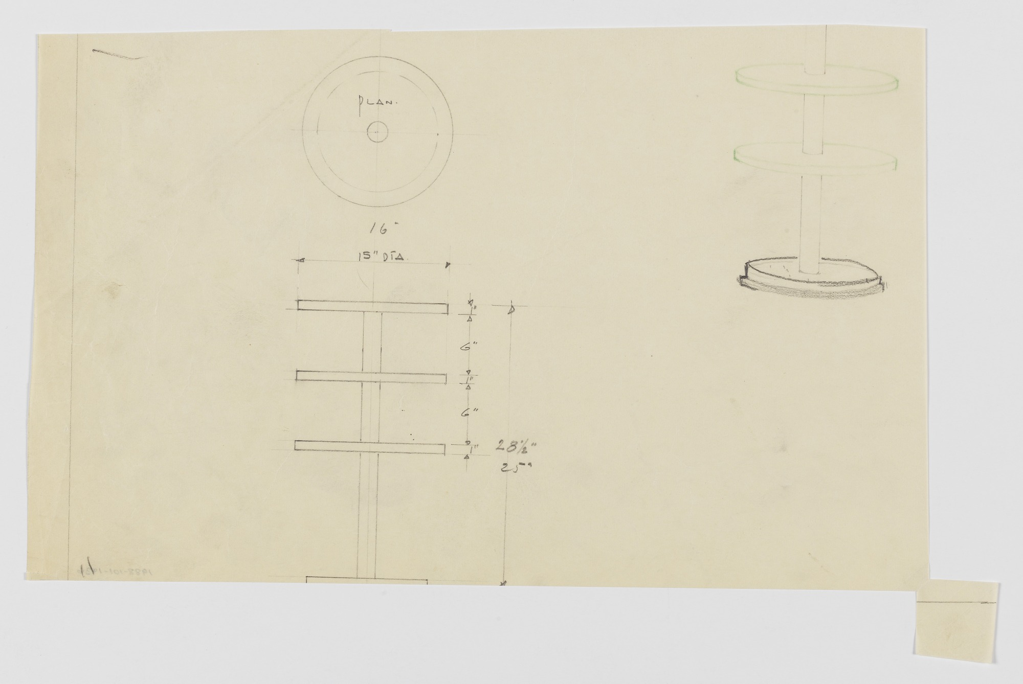 Design for a Stand with Three Circular Shelves
