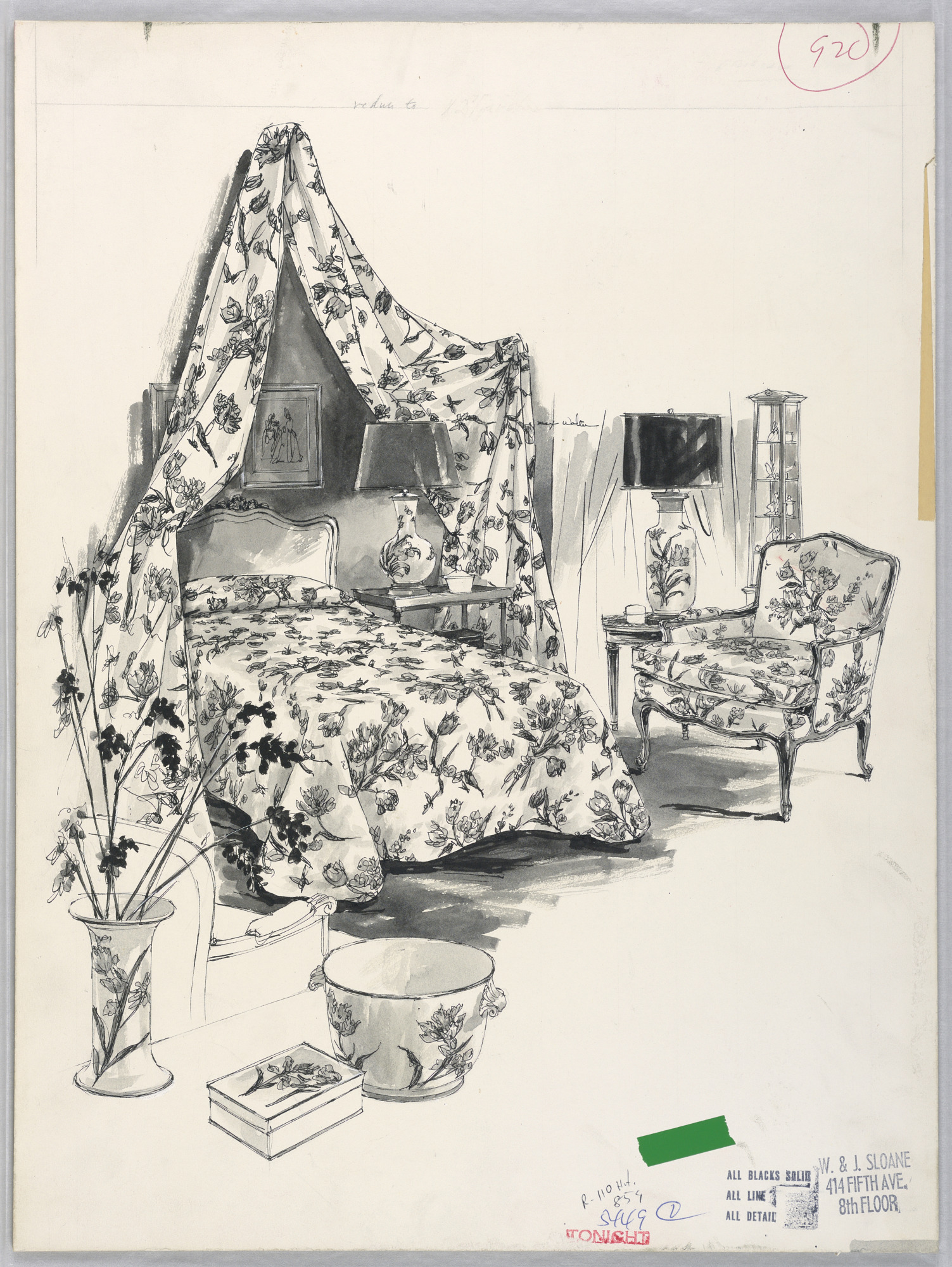 Drawing for Advertising, canopy bed and matching chair