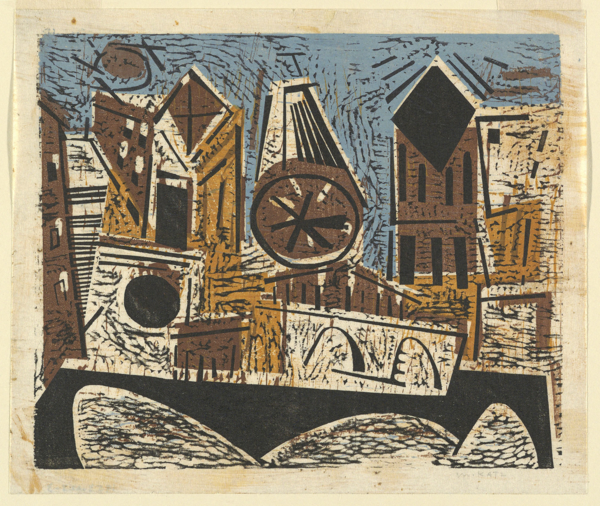 Colored woodcut: City skyline