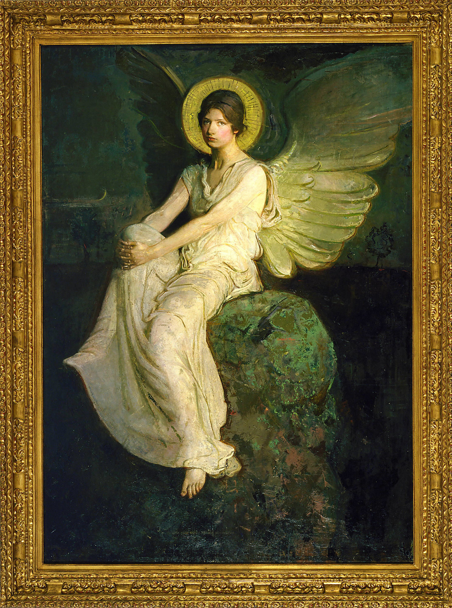 with frame: Winged Figure Seated Upon a Rock