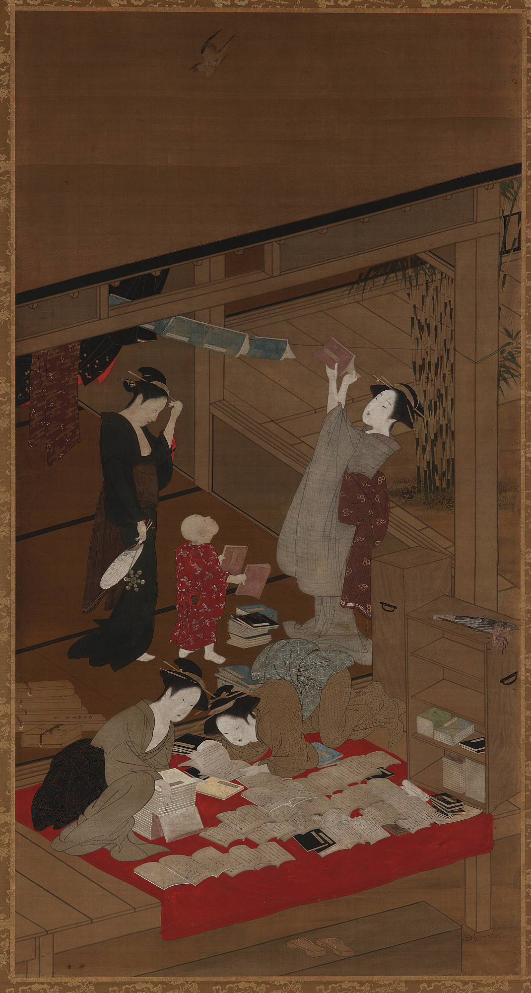 : Women Airing Books and Clothes