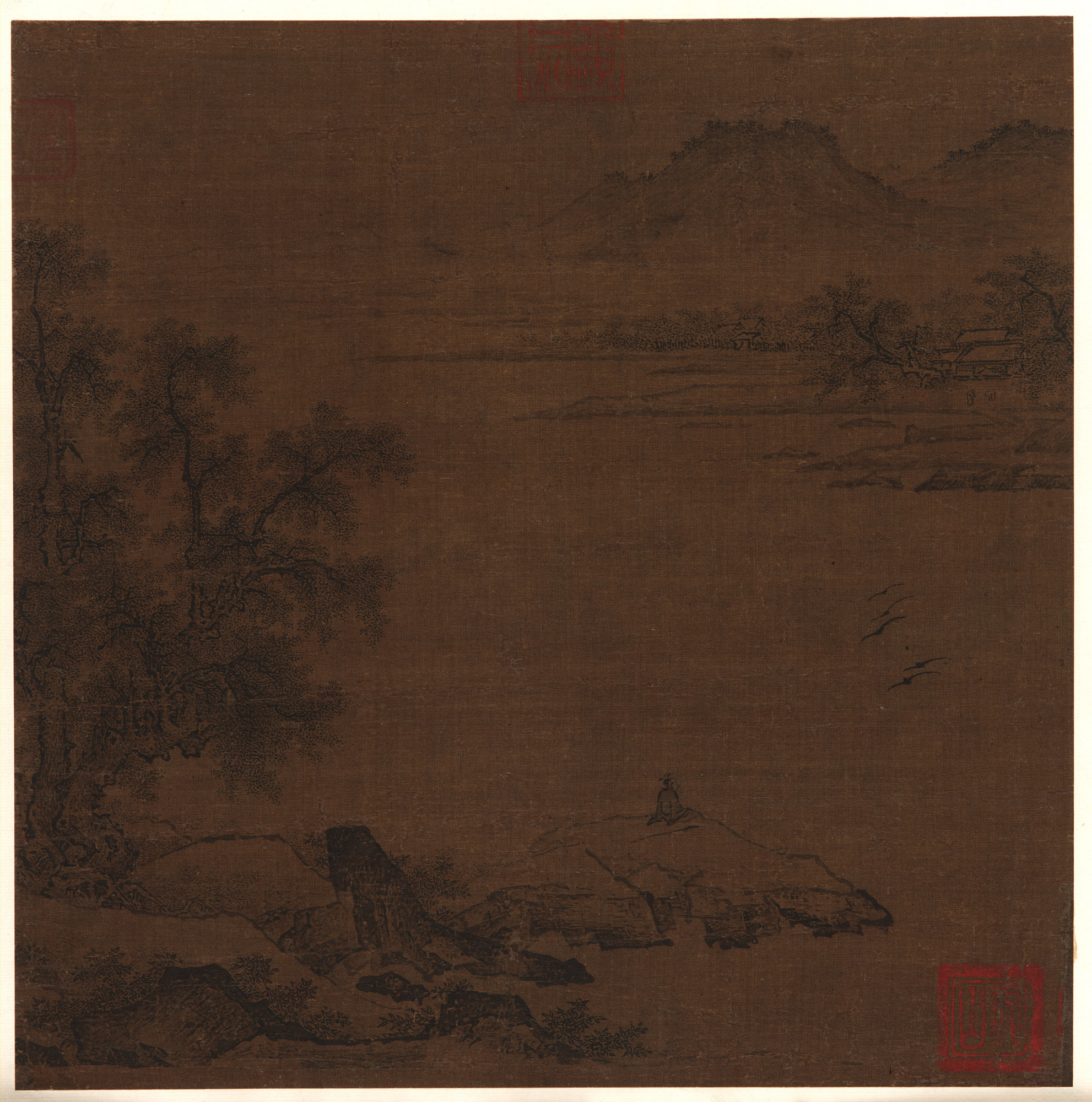 : River Landscape with a Seated Figure in Foreground