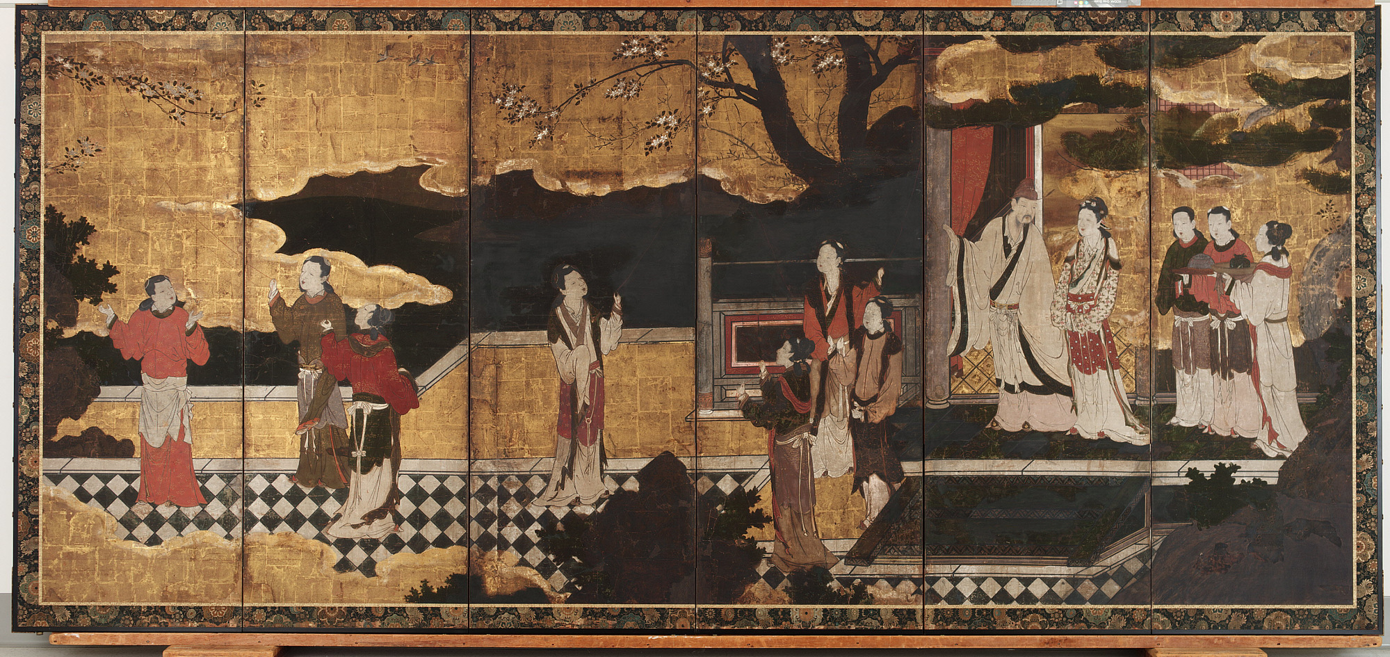 : The Chinese Emperor Minghuang and his concubine Yang Guifei, with attendants on a terrace