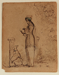 A Woman with a Dog and Bird