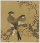 Two crested birds on a branch; autumn leaves