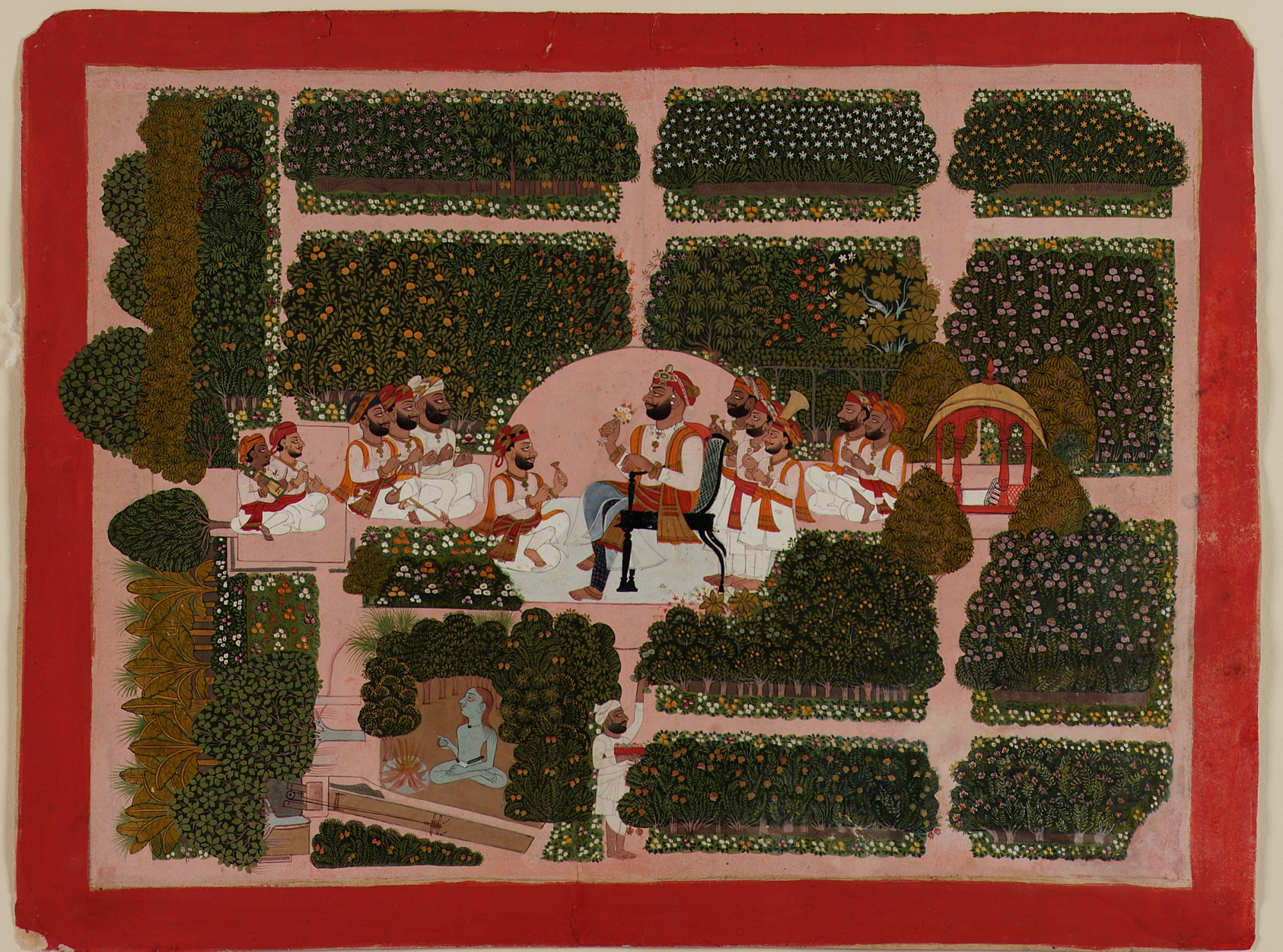 Akhairaj with Courtiers and Musicians in a Garden