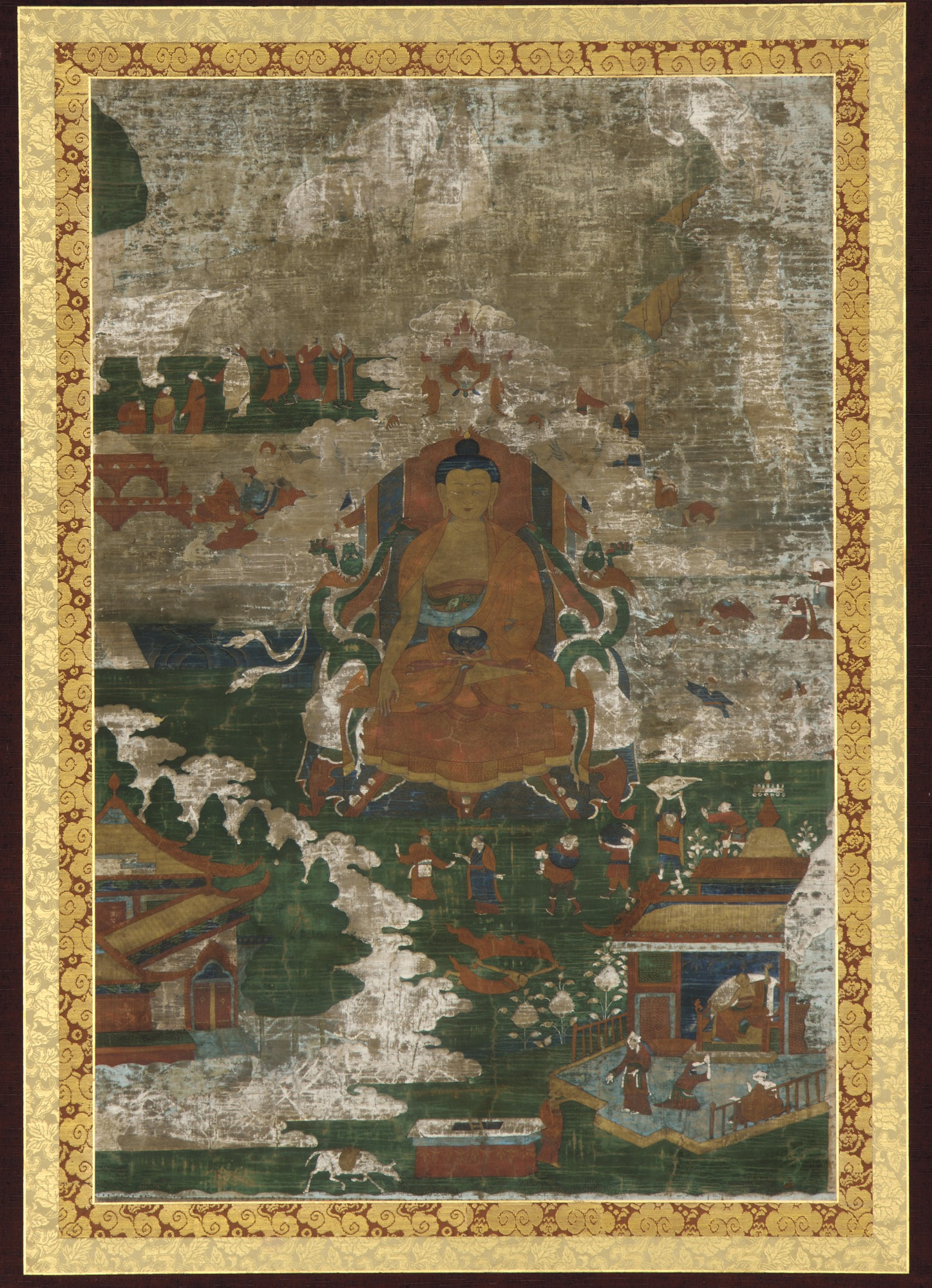 Sakyamuni enthroned; and biographical scenes