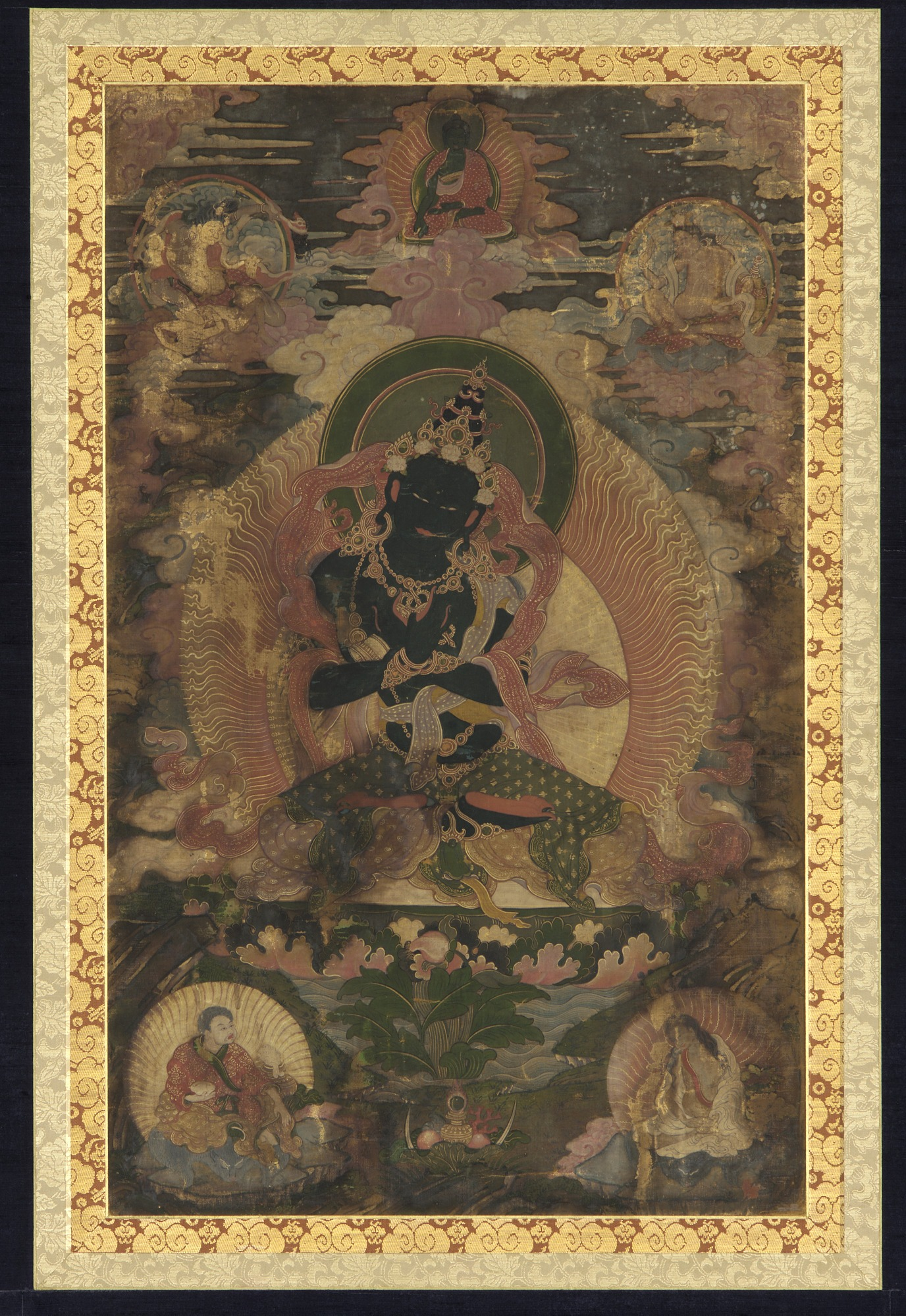Vajradhara surrounded by smaller figures of Telopa, Naropa, Marpa and Milaraspa