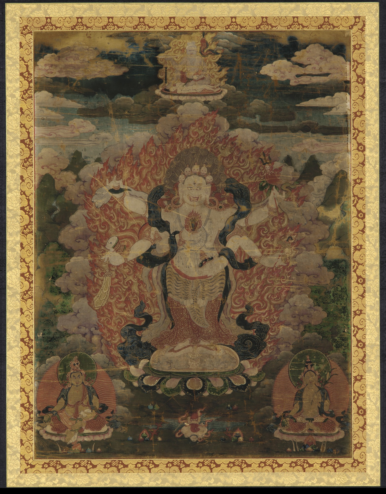 Mahakala (white form) and three other divinities