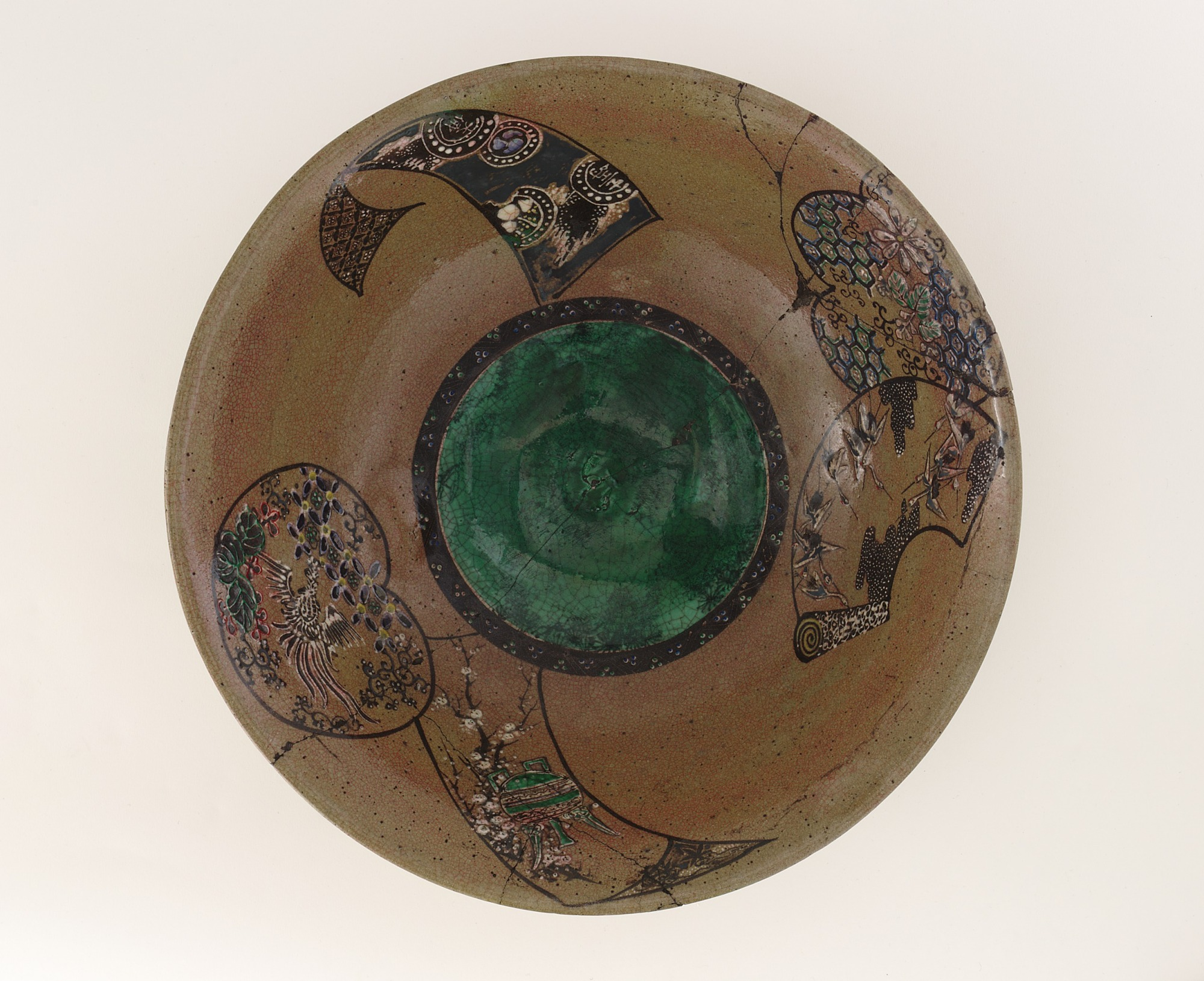 interior: Bowl with design of auspicious motifs