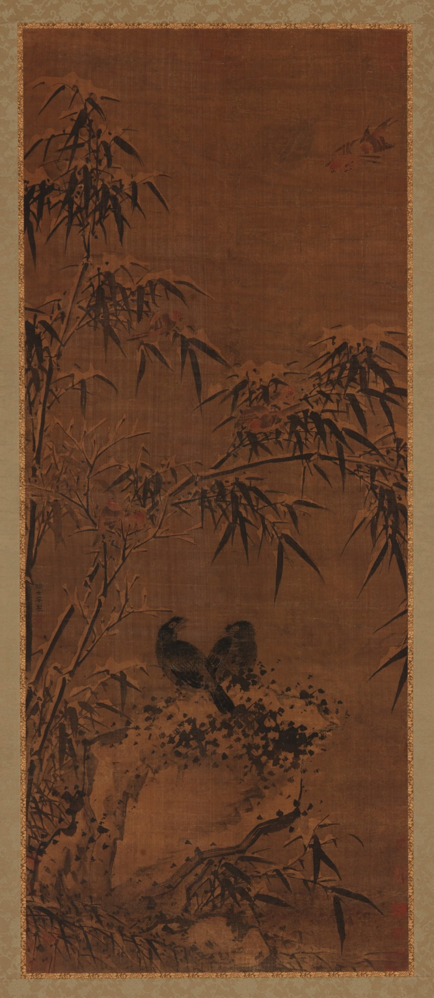 Bamboos and birds in winter