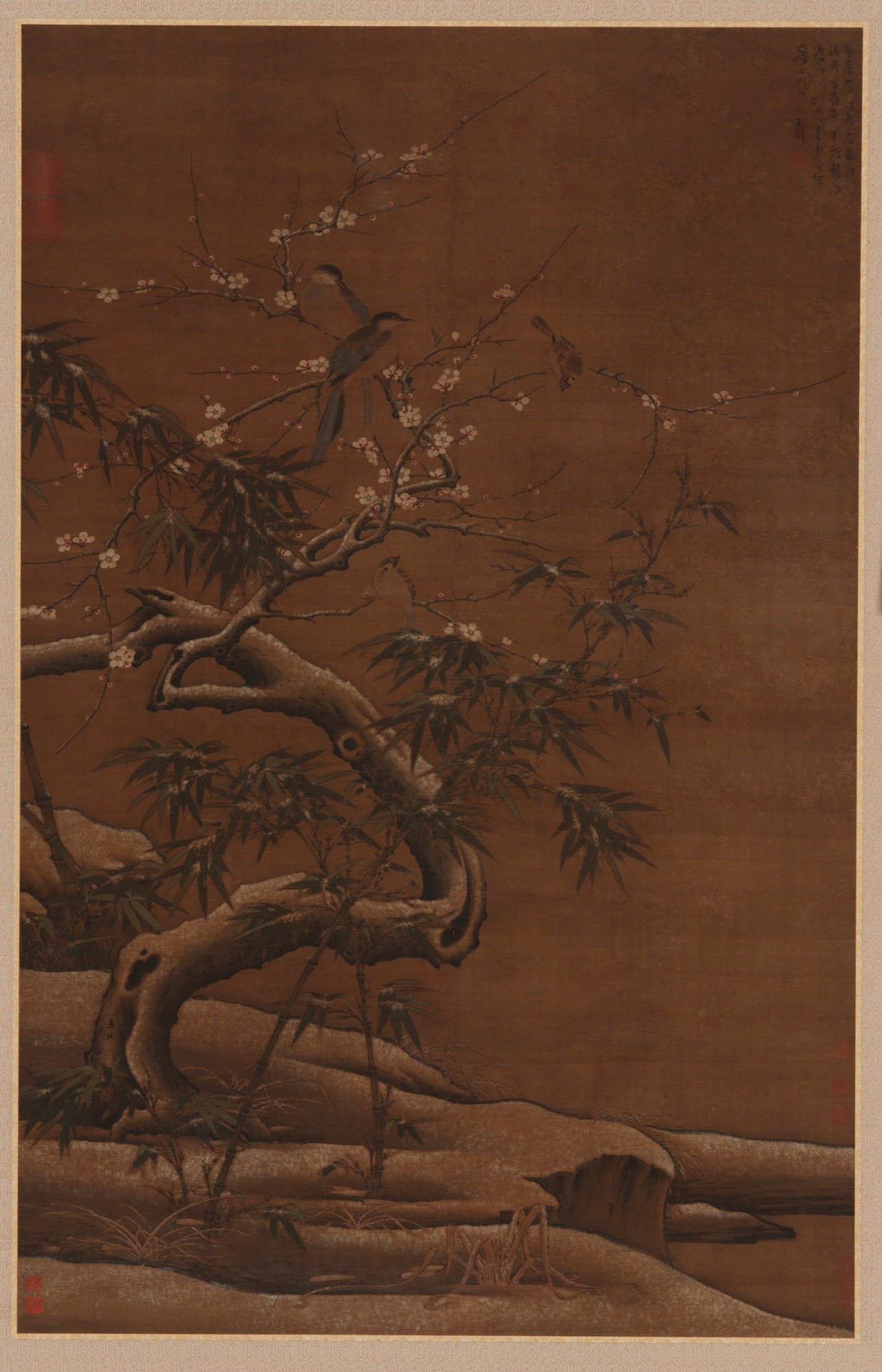 Birds, Plum Blossoms, and Bamboo in Winter