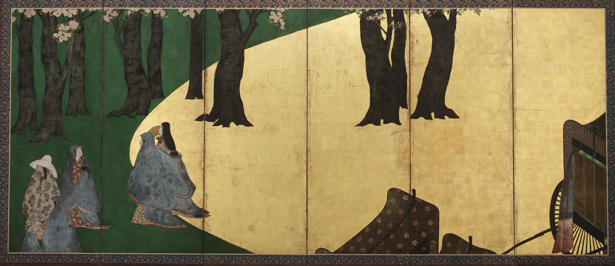 F1903.101: Court Ladies among cherry trees (left); Cherry blossoms, a high fence and retainers (right)