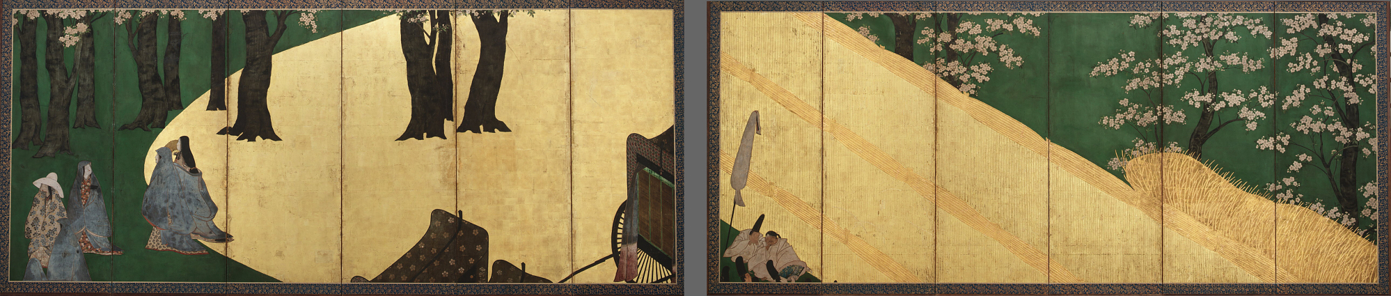 : Court Ladies among cherry trees (left); Cherry blossoms, a high fence and retainers (right)