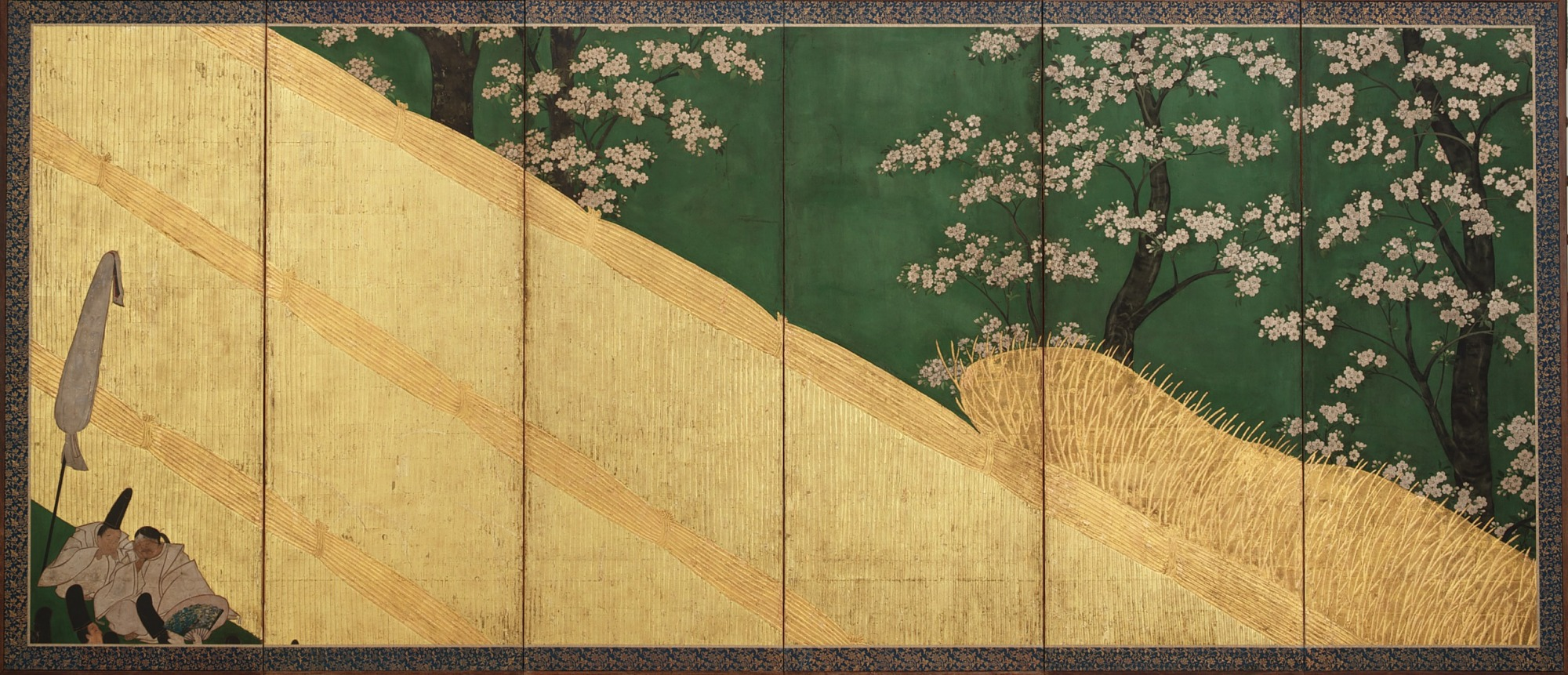 F1903.102: Court Ladies among cherry trees (left); Cherry blossoms, a high fence and retainers (right)