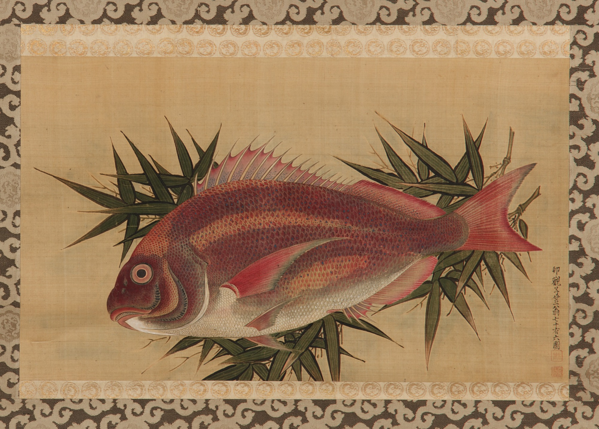 : Red Sea Bream (Tai) on Bamboo Leaves
