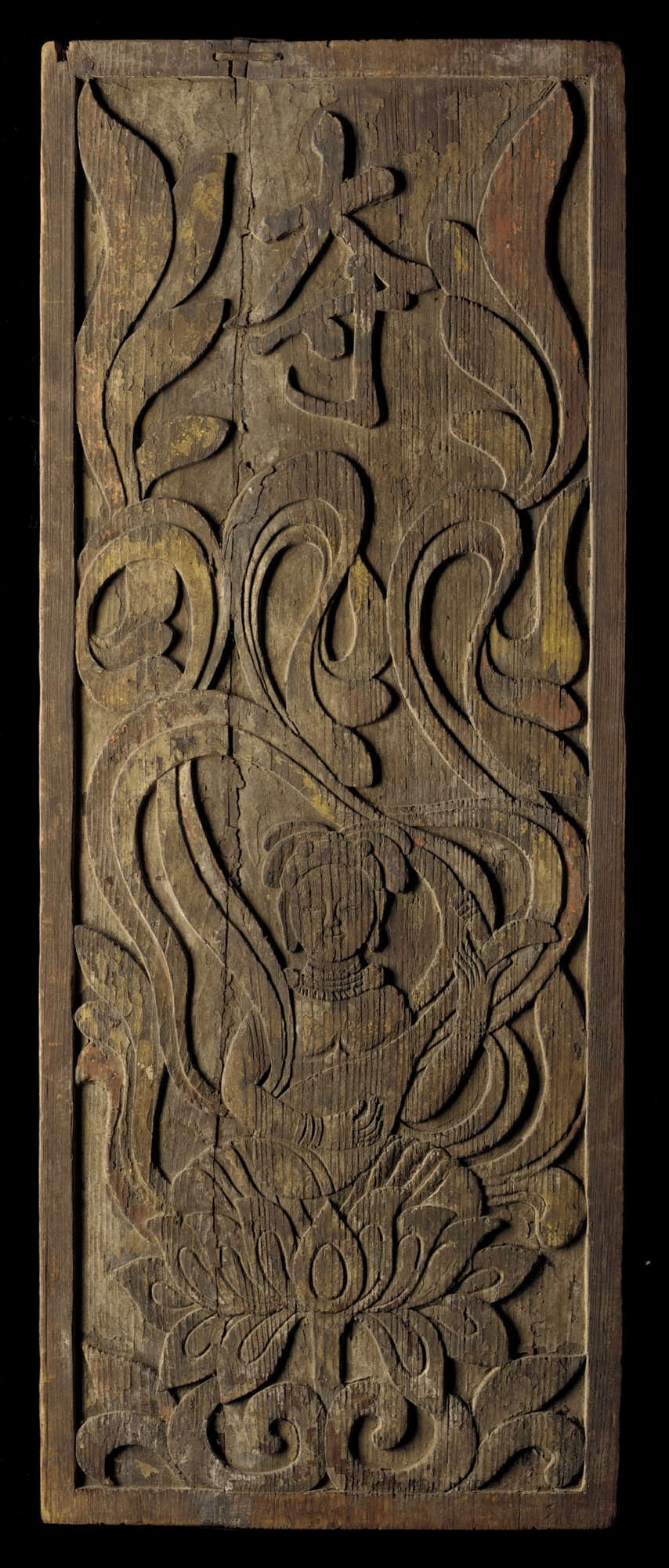 Wood panel with relief design of apsara