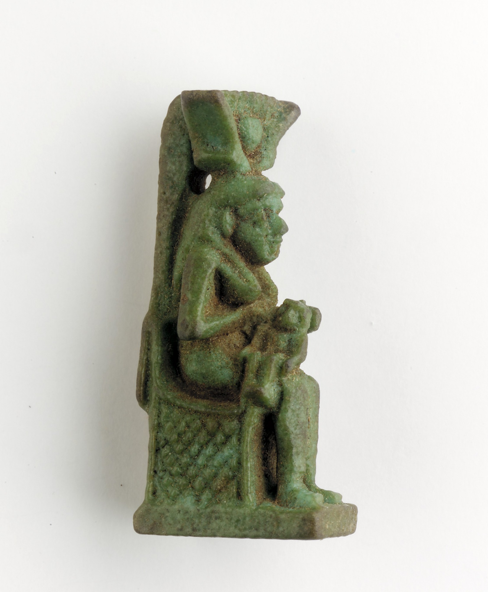 3/4 proper right: Amulet of Isis/Hathor and Horus