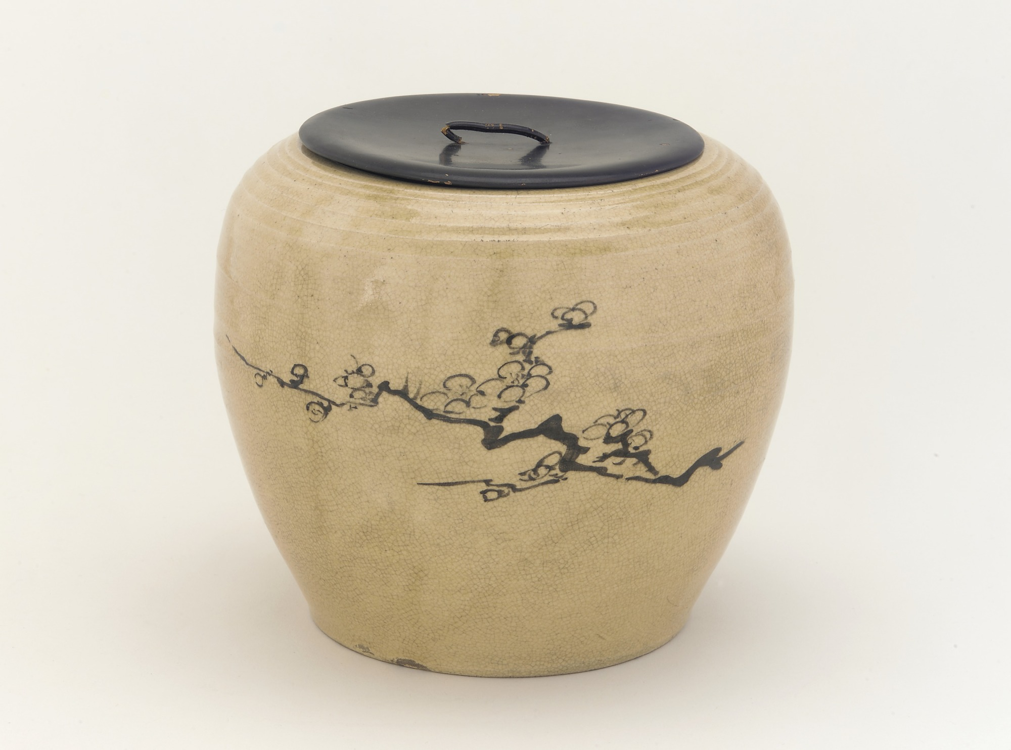 Tea-ceremony water jar with design of plum branches, Karatsu ware