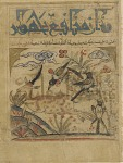Folio from a Manafi al-hayawan (Usefulness of animals) by Ibn Bakhtishu (d.1058); recto: illustration and text: a deer and magpies; verso: text