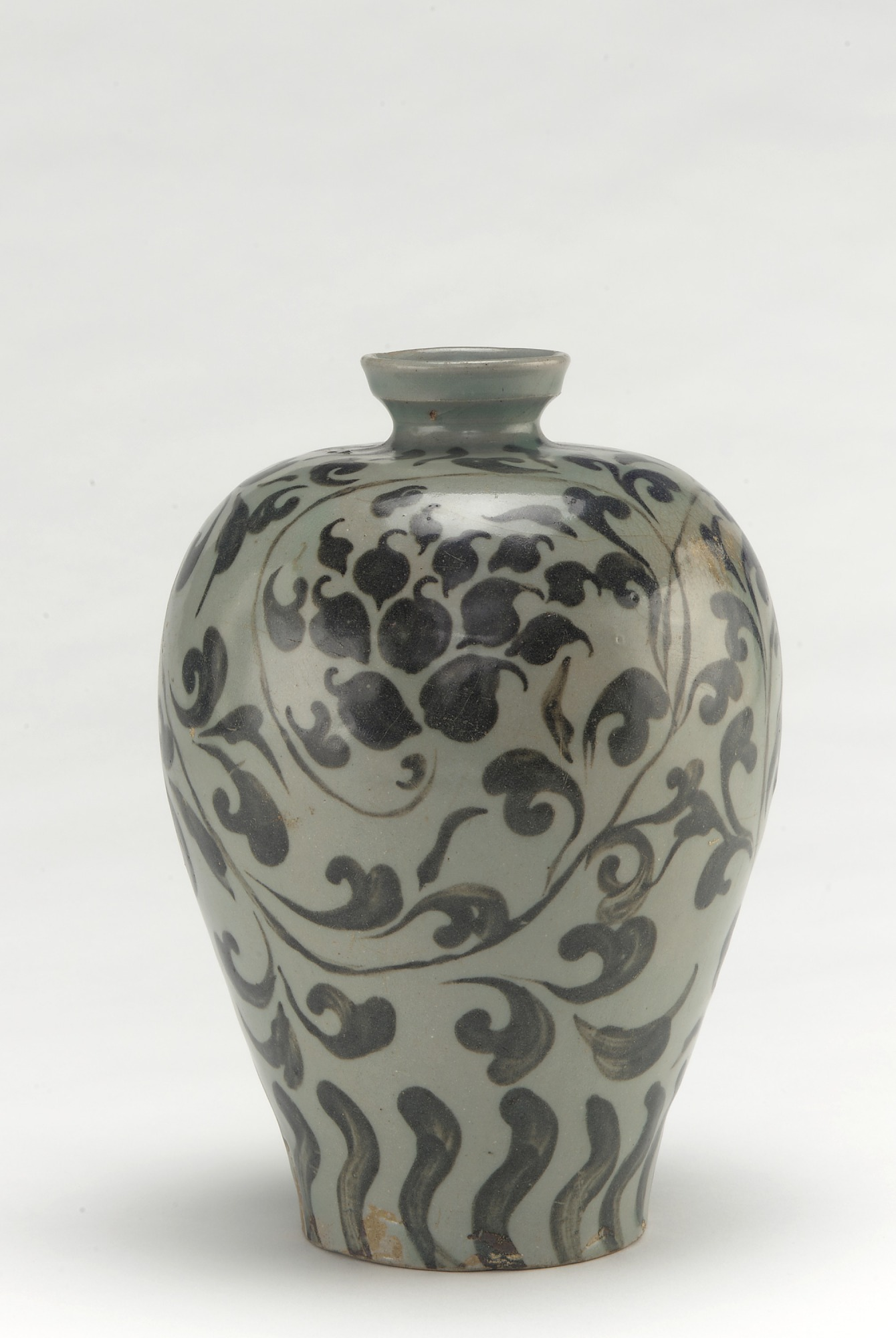 Bottle with design of peony vinescrolls