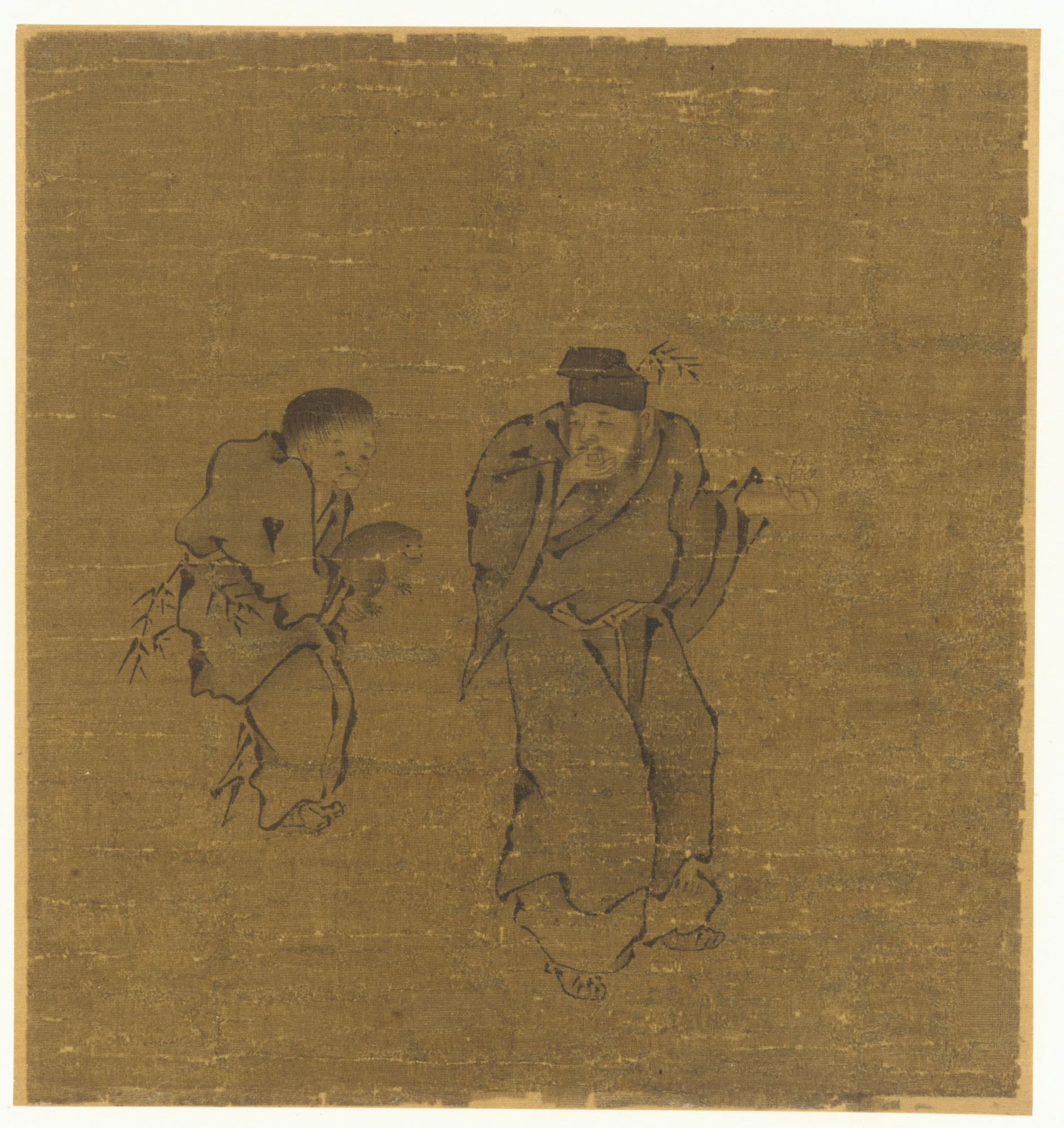 : Two Male Figures With a Toad