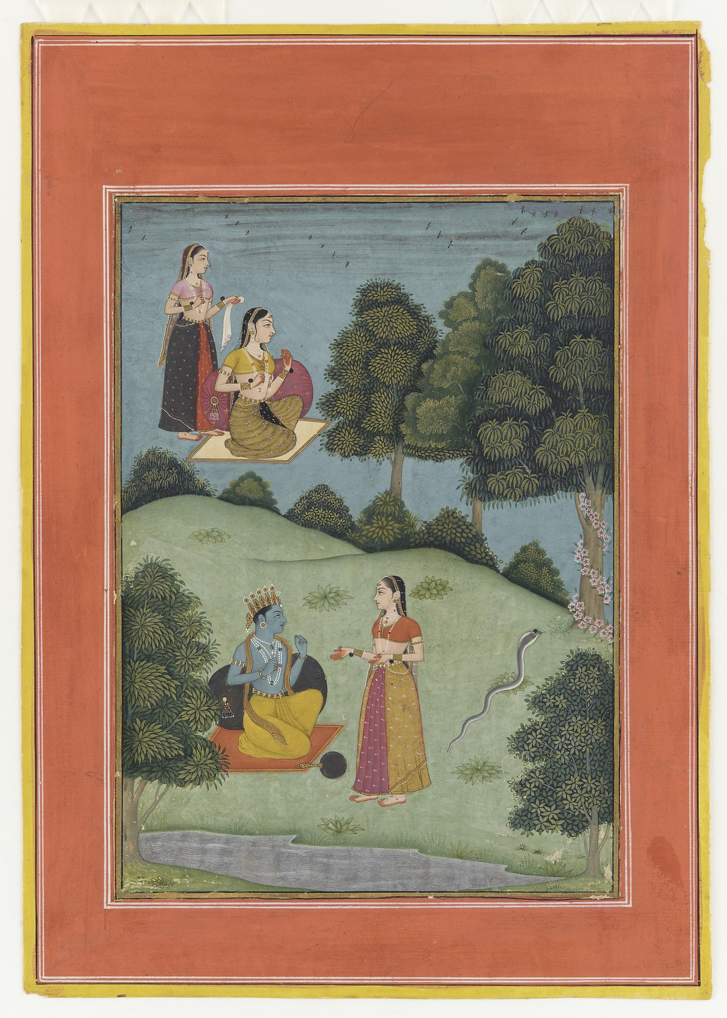 Krishna talking with a confidante of Radha from the Rasikapriya