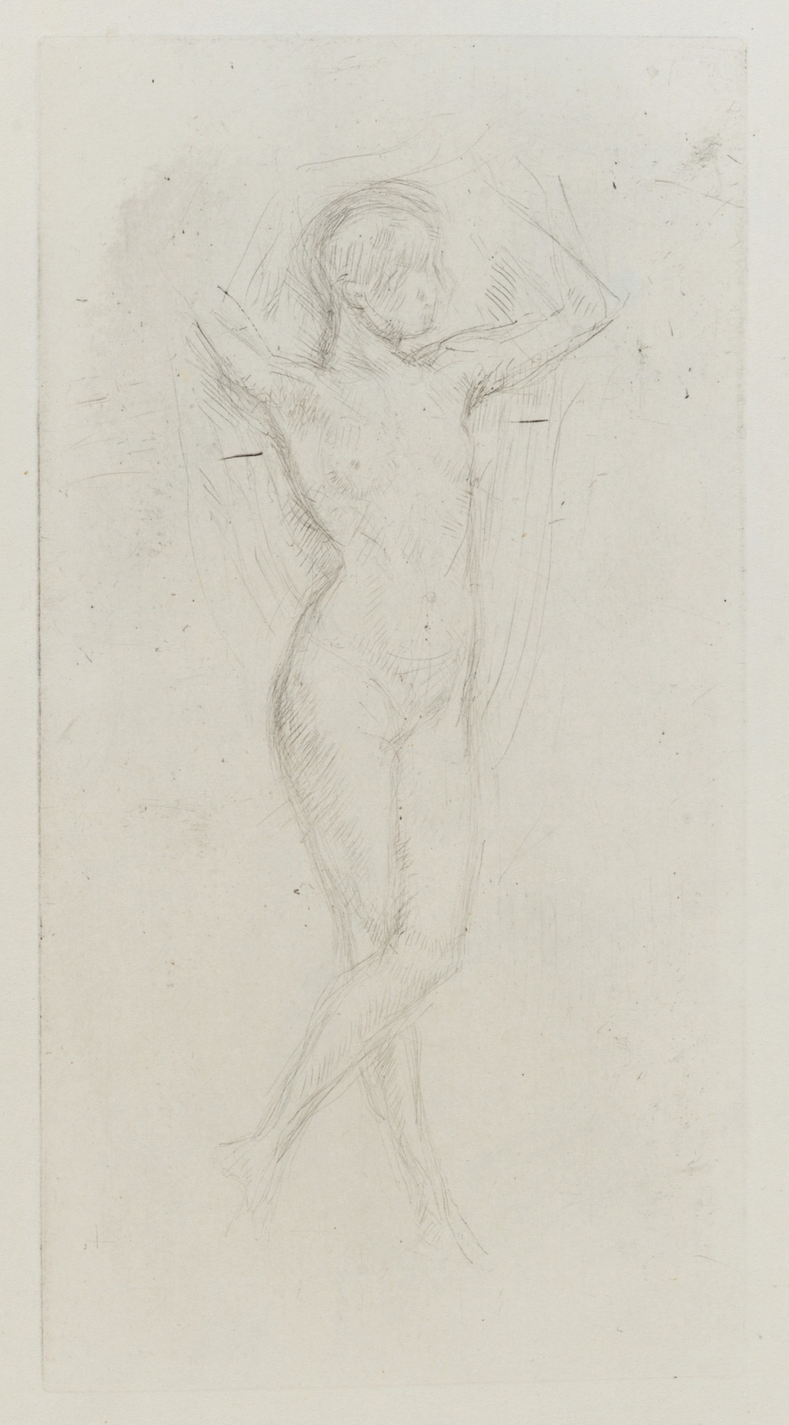 Nude Girl with Arms Raised
