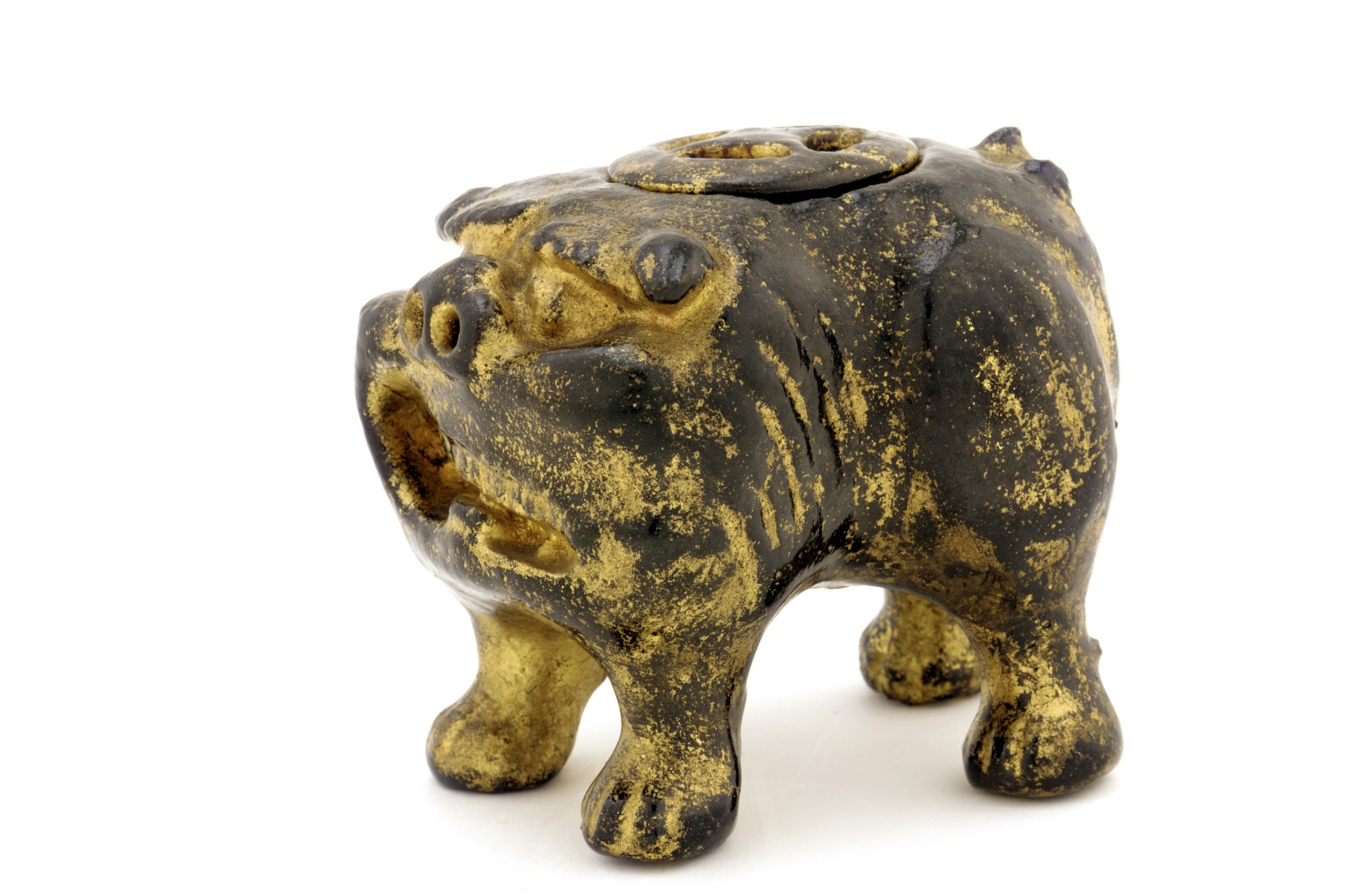 : Incense burner in the shape of Chinese lion-dog, unknown Raku ware workshop