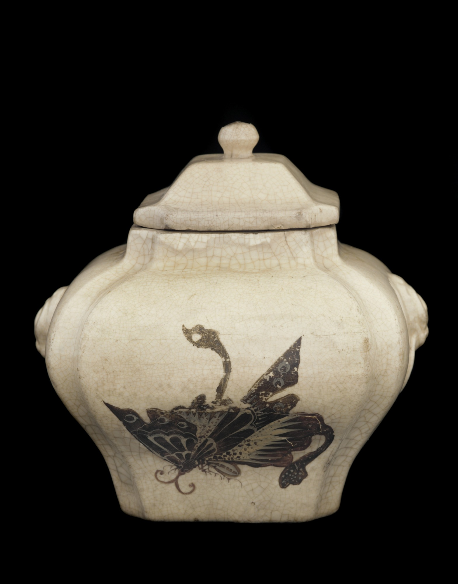 profile: Lidded jar with design of butterflies