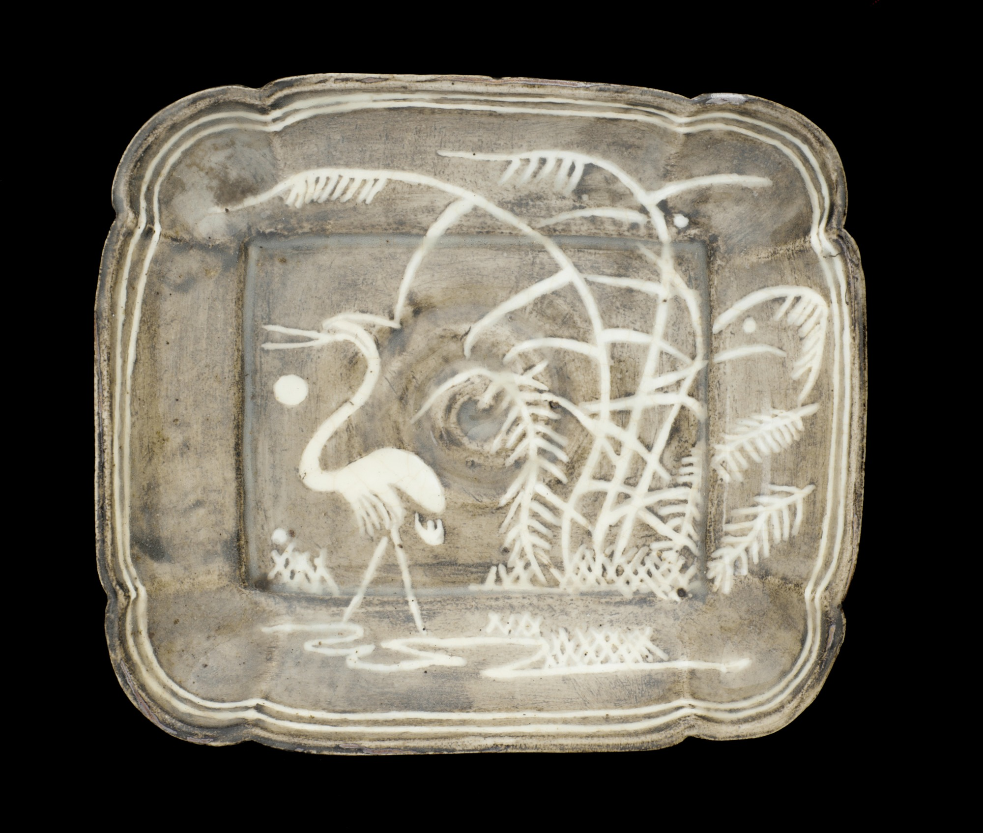 Seto ware rectangular dish in Gray Shino style